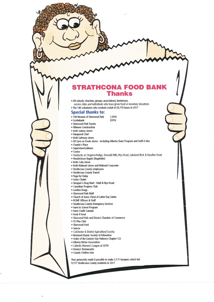Strathcona Food Bank Thank You poster